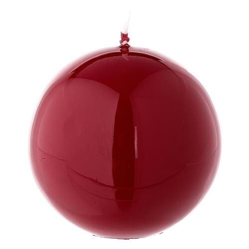 Candela di Natale sferica rosso lucido ceralacca 8 cm 2