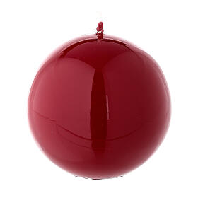 Round ball Christmas candle, shiny red 8 cm diameter s1