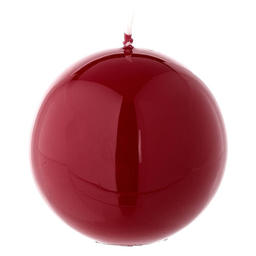 Round ball Christmas candle, shiny red 8 cm diameter 2