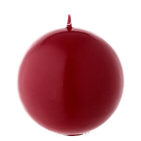 Candela natalizia opaca sfera 8 cm rosso scuro ceralacca s2