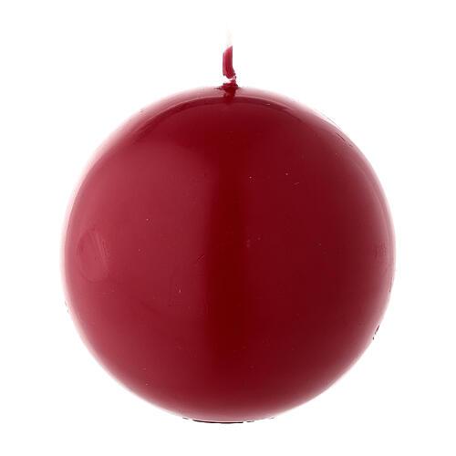Candela natalizia opaca sfera 8 cm rosso scuro ceralacca 1