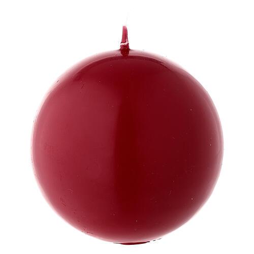 Candela natalizia opaca sfera 8 cm rosso scuro ceralacca 2