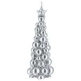 Candela natalizia albero Mosca argento 21 cm s1