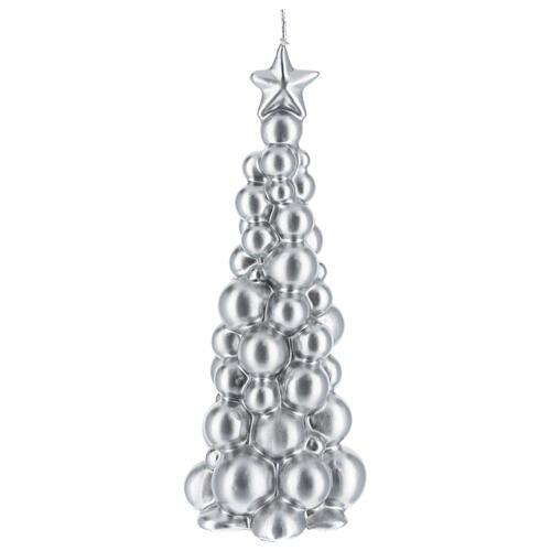 Candela natalizia albero Mosca argento 21 cm 1