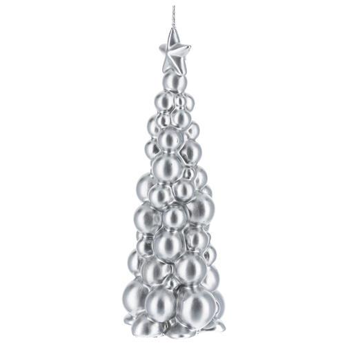 Candela natalizia albero Mosca argento 21 cm 2