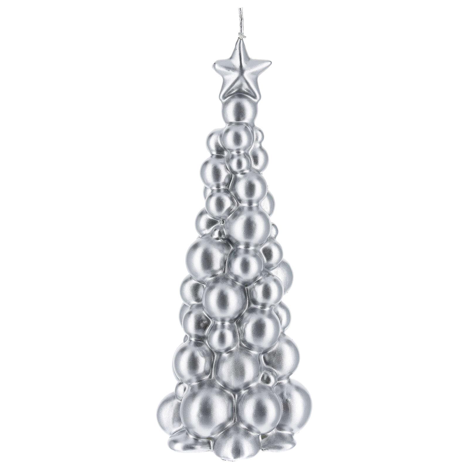 Vela de Natal árvore prateada modelo Moscovo 21 cm 3