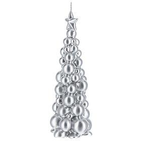 Vela de Natal árvore prateada modelo Moscovo 21 cm s2