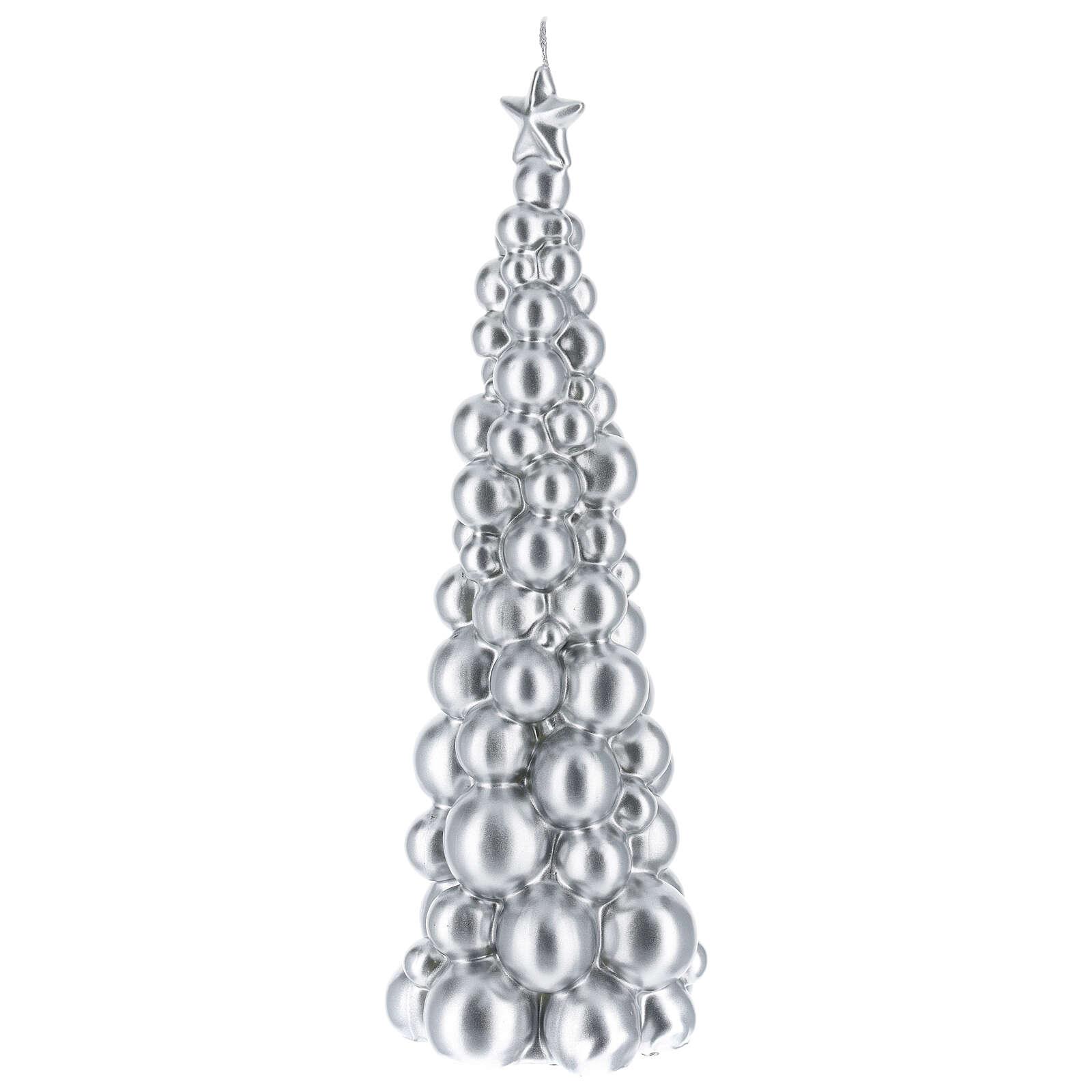 Candela natalizia albero Mosca argento 30 cm 3
