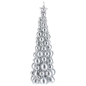 Candela natalizia albero Mosca argento 30 cm s1