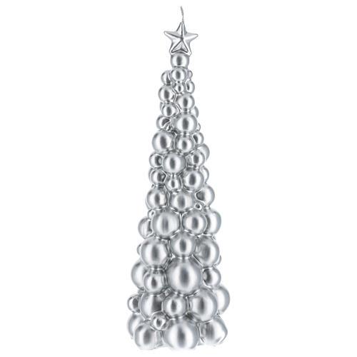 Candela natalizia albero Mosca argento 30 cm 1