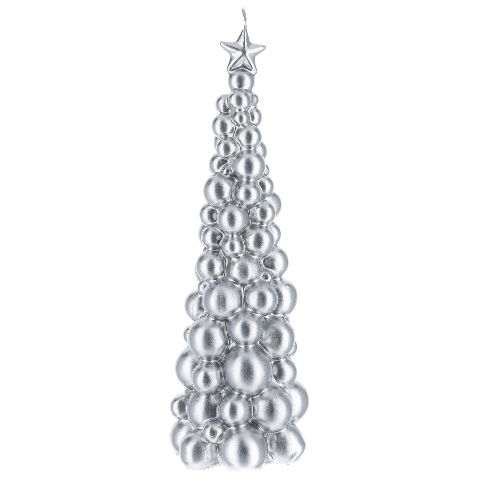 Vela de Natal árvore prateada modelo Moscovo 30 cm 3