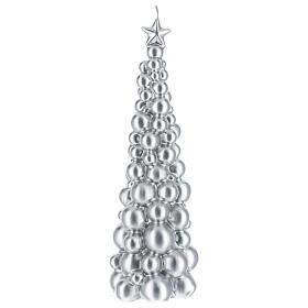 Vela de Natal árvore prateada modelo Moscovo 30 cm s1