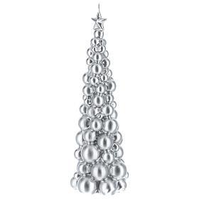 Vela de Natal árvore prateada modelo Moscovo 30 cm s2
