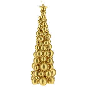 Vela de Natal árvore dourada modelo Moscovo 30 cm s1