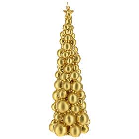 Vela de Natal árvore dourada modelo Moscovo 30 cm s2