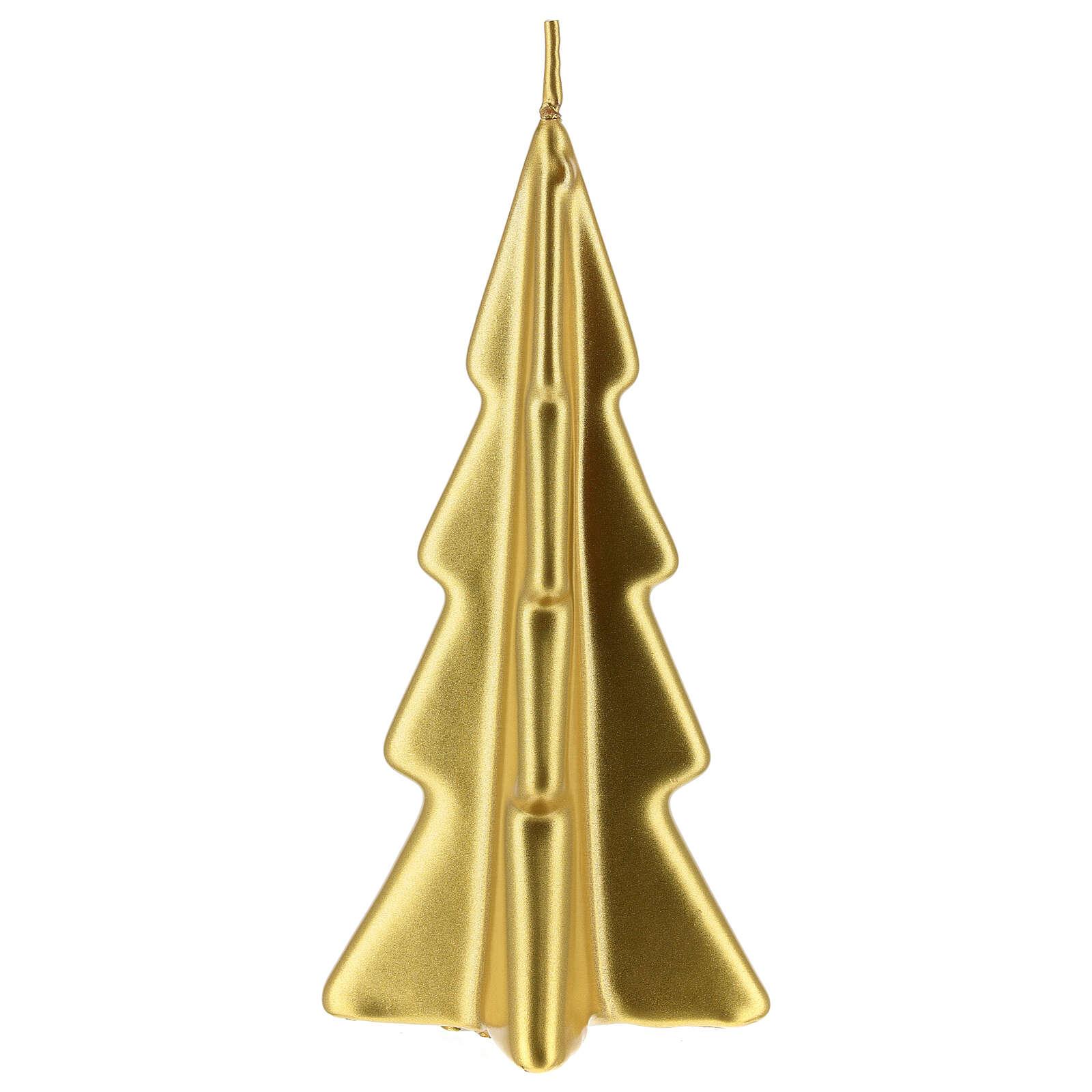 Vela navideña árbol Oslo oro 16 cm 3