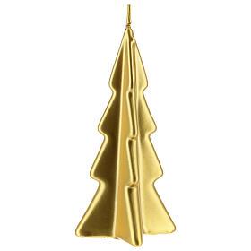 Vela navideña árbol Oslo oro 16 cm s1