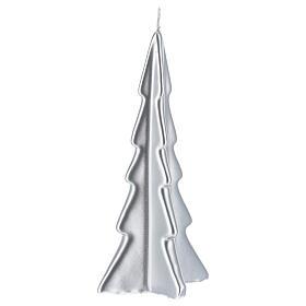 Candela natalizia albero Oslo argento 20 cm s1