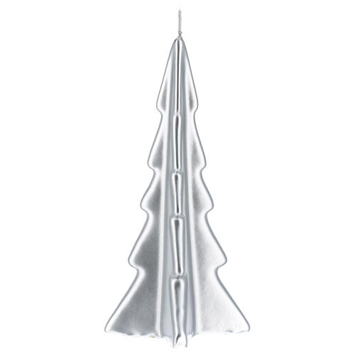 Candela natalizia albero Oslo argento 20 cm 2