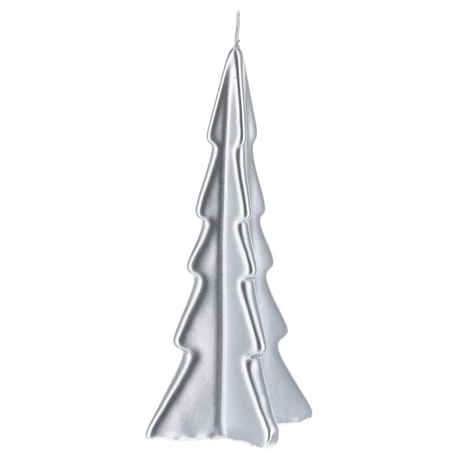 Vela de Natal árvore prateada modelo Oslo 20 cm 3