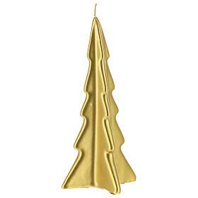 Vela navideña árbol Oslo oro 20 cm s1