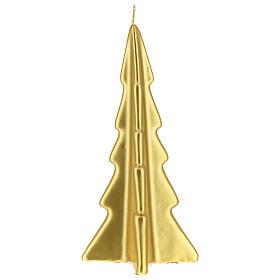 Vela navideña árbol Oslo oro 20 cm s2