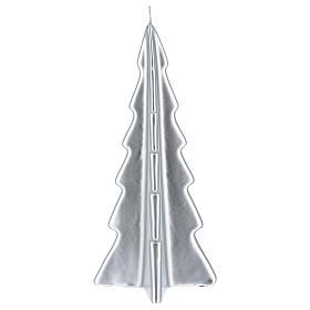 Candela natalizia albero Oslo argento 26 cm s2