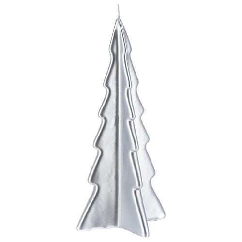 Candela natalizia albero Oslo argento 26 cm 1
