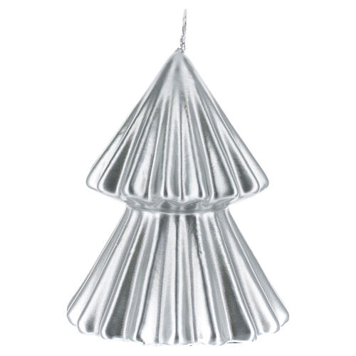 Candela natalizia albero Tokyo argento 12 cm 2