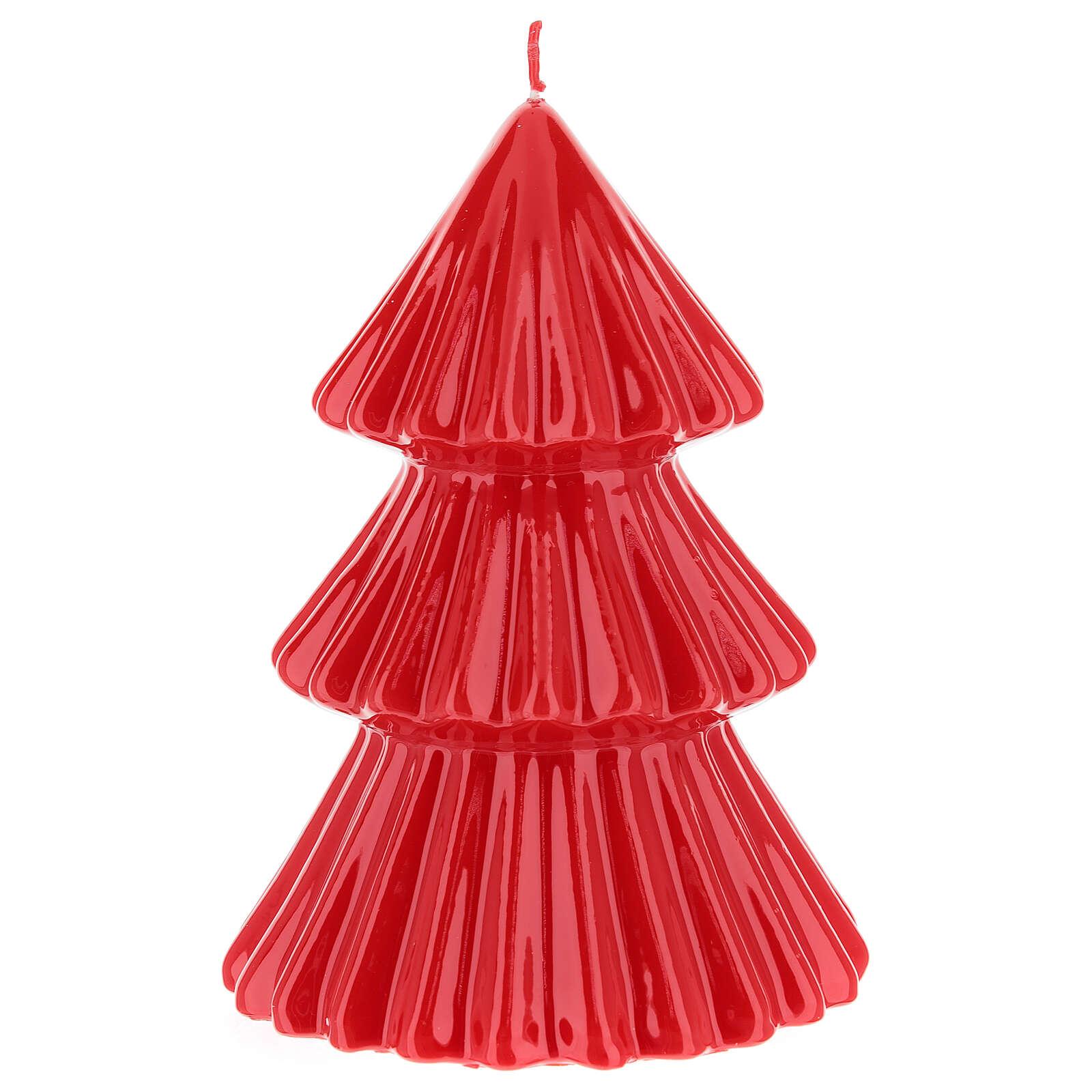 Vela navideña árbol Tokyo rojo 17 cm 3