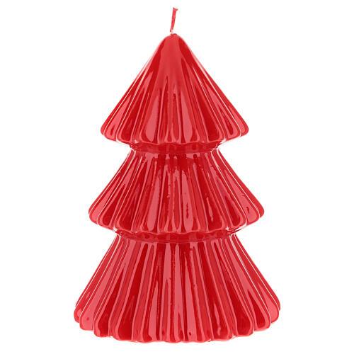 Vela navideña árbol Tokyo rojo 17 cm 2