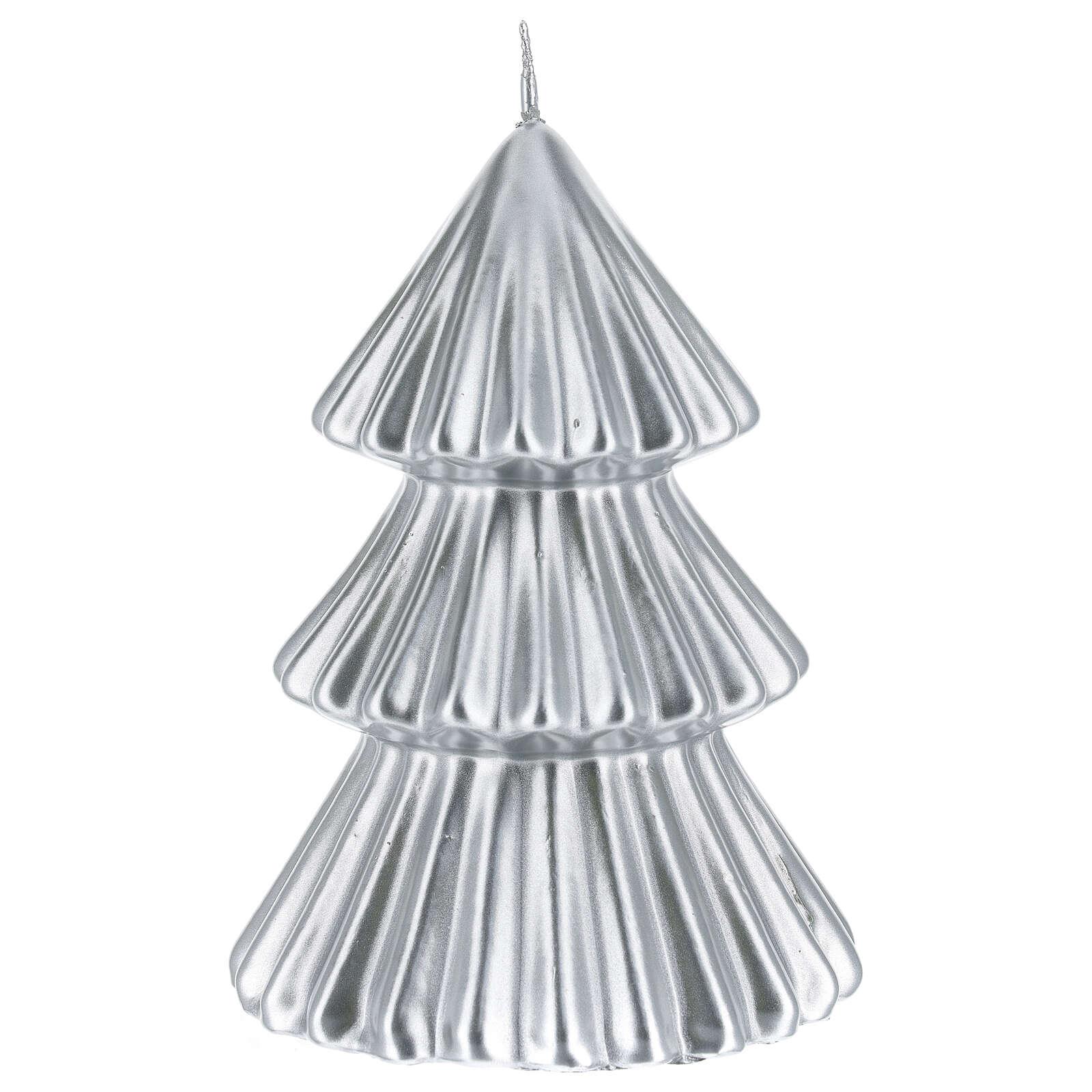 Candela natalizia albero Tokyo argento 17 cm 3
