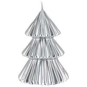 Candela natalizia albero Tokyo argento 17 cm s1