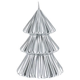 Silver Tokyo Christmas tree candle 7 in s1