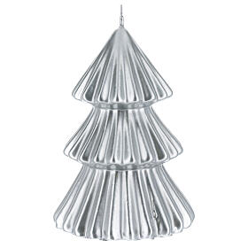 Silver Tokyo Christmas tree candle 7 in s2