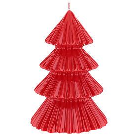 Vela navideña árbol Tokyo rojo 23 cm s1