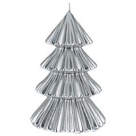 Candela natalizia albero Tokyo argento 23 cm s1