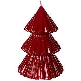 Vela navideña árbol Tokyo burdeos 17 cm s3