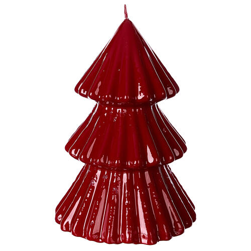 Vela navideña árbol Tokyo burdeos 17 cm 1