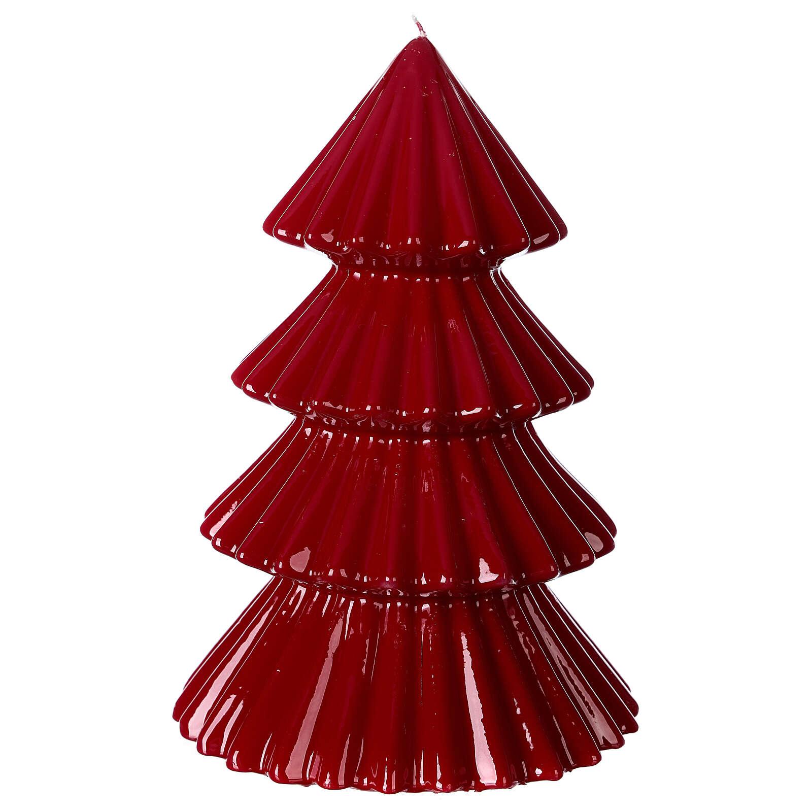 Vela navideña árbol Tokyo burdeos 23 cm 3