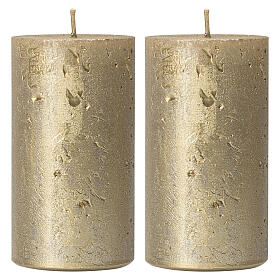 Christmas candles, old gold, set of 2, 170x70 mm s1