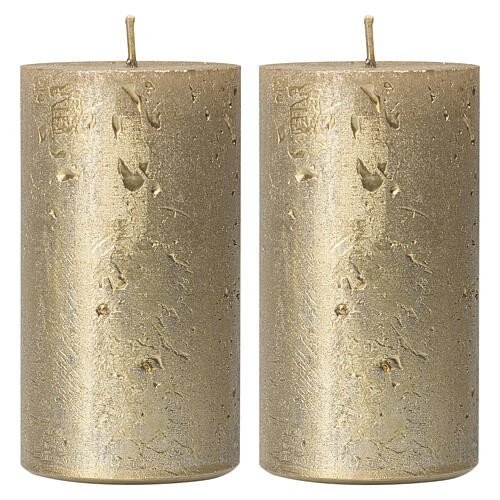 Christmas candles, old gold, set of 2, 170x70 mm 1