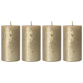 Christmas candles, old gold, set of 4, 110x60 mm s1