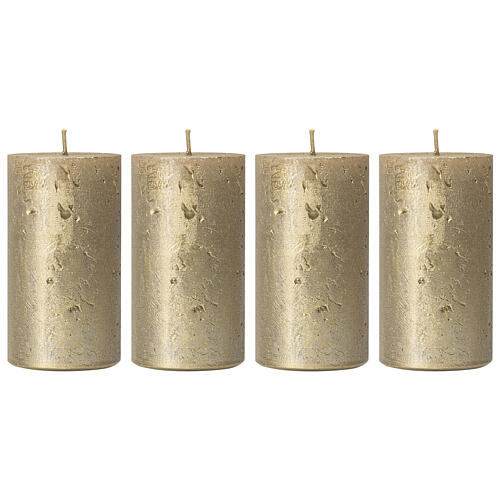 Christmas candles, old gold, set of 4, 110x60 mm 1