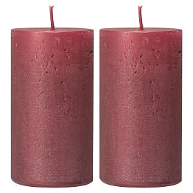 Red ruby Christmas candles, set of 2, 170x70 mm s1