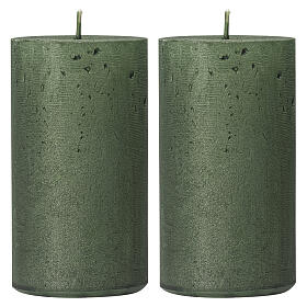 Pearly green Christmas candles, set of 2, 170x70 mm s1
