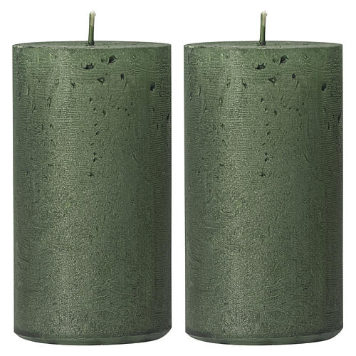 Pearly green Christmas candles, set of 2, 170x70 mm 1