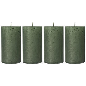 Christmas candles, translucent green, set of 4, 110x60 mm s1
