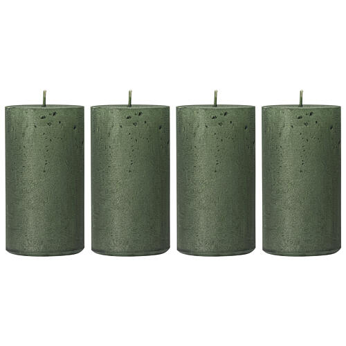 Christmas candles, translucent green, set of 4, 110x60 mm 1
