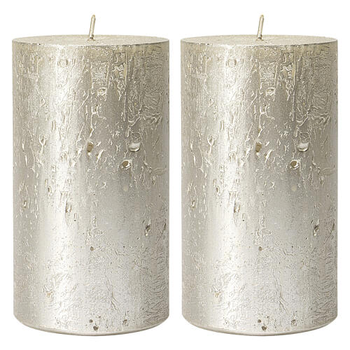 Christmas candles, titanium grey, set of 2, 170x70 mm 1